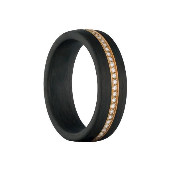 Carbon Ring mit Goldeinlage und Brillanten