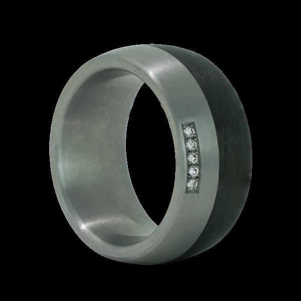 Edelstahl Ring mit Carbon Einlage und 5 Brillanten