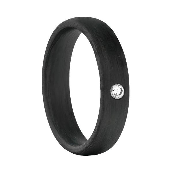 Carbon Ring mit Brillant