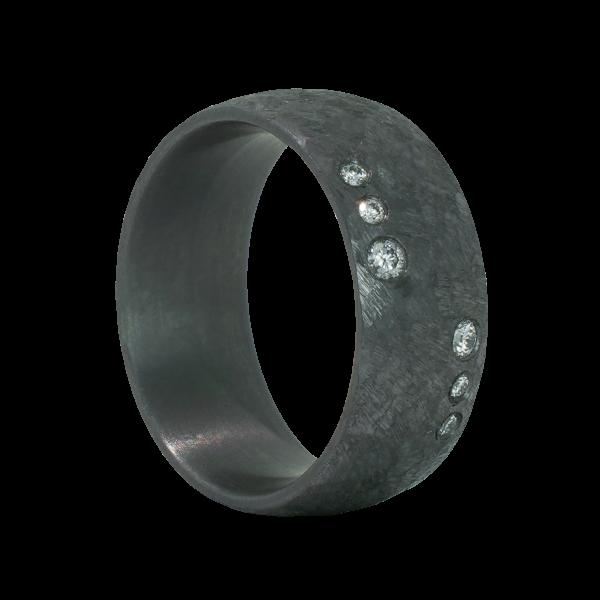 Edelstahl Ring mit 6 Brillanten
